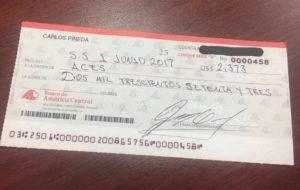 Cheque entregado a ACES en el último evento y que fue cobrado posteriormente.