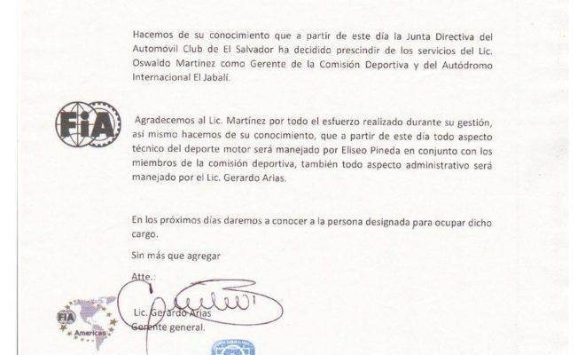 Comunicado publicado este día en la página oficial del Autódromo Internacional El Jabalí.