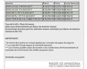Oferta de vehiculos y precios oficiales de la concesionaria Honda en El Salvador.