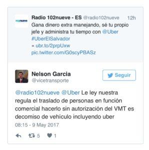 Declaraciones de Nelson García en Twitter.