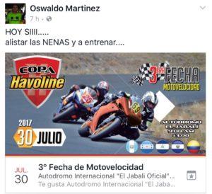 Imagen del evento programado por el Lic. Martinez en una fecha ya reservada para Todo Motor, de acuerdo al calendario que nos entregó.